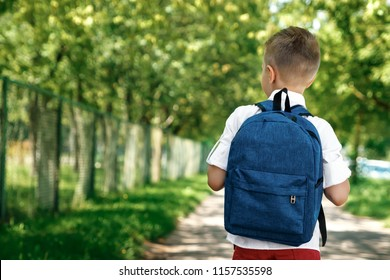 Back to school. A boy from an elementary school with a backpack on the street. The concept of the day of knowledge, September 1, the beginning of school.