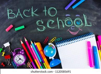 Back to School chalkboard and school supplies