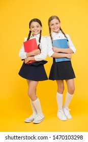 Back to school. Cheerful school girls. Point out positive aspects starting school create positive anticipation first day class. Bring child school few days prior play playground and get comfortable.