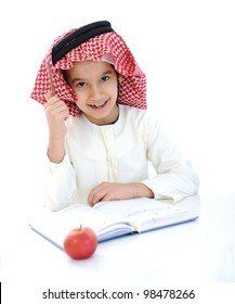 Back to school, child with apple