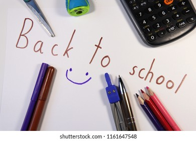 Back to school for children. September is here. Pen, pencils, grater, elementary school, university or high school