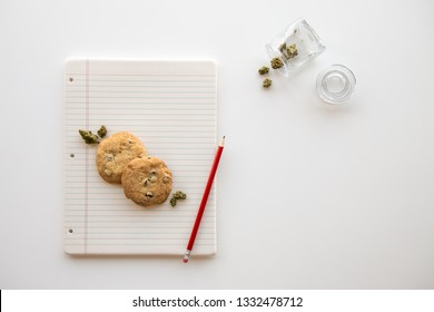 Back to School Chocolate Chip Cookies on a Binder Paper Plate with a Red Pencil and a Glass Jar of Cannabis