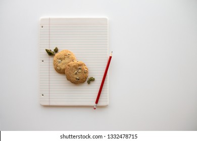 Back to School Chocolate Chip Cookies and Cannabis Buds on a Binder Paper Plate with a Red Pencil