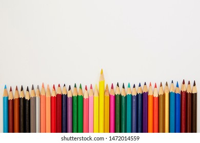 Back to school, Close up Color pencils isolated on white background, Copy space for Text