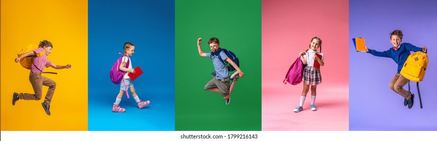 Back to school! Collage of 5 school children on a colorful paper wall background. Children with backpacks. Children are Happy and ready to learn. Dynamic images. positive cheerful and active jumps.