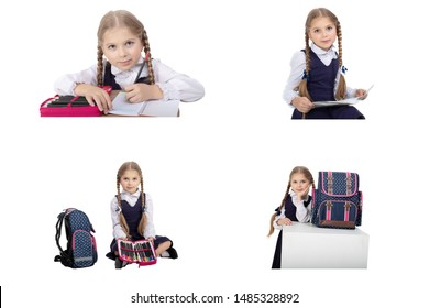 Back to School Collage With Elements on a White Background.schoolgirl studying on a white background collage