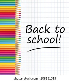 Back to school ! Colored pencils and notepaper sheet.