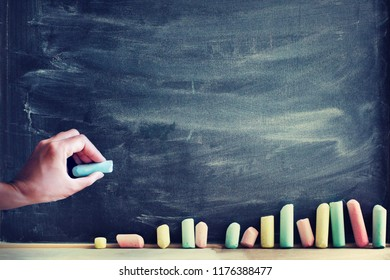 back to school concept background with chalk board