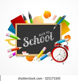 Back to School Concept. Black Chalkboard and Attributes of Study. illustration