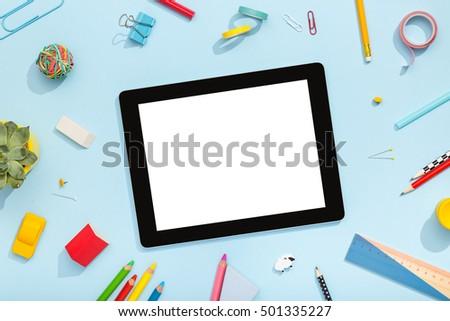 Back School Concept Blank Tablet School Stock Photo Edit Now