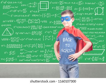 Back to school concept with confident super hero school kid