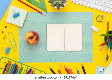 Back To School Concept With Copy Space. Top View. Office Desk With Supplies,