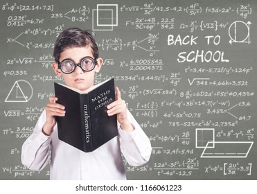 Back to school concept with geek student in classroom