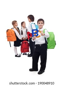 Back to school concept with a group of kids - isolated
