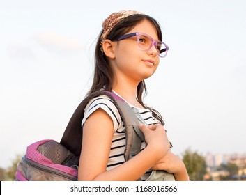 Back to school concept, happy school girl, kids learning and education