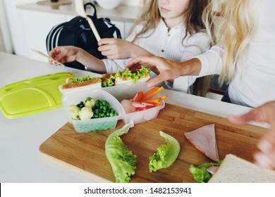 Back to school concept Mother prepares children sandwiches for school