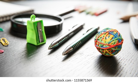 Back to school concept. School and office supplies on office table.