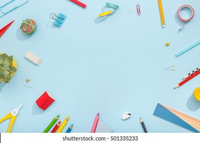 Back to school concept. School and office supplies on office table. Flat lay with copy space.