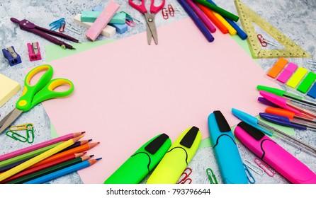 Back to school concept - school office supplies