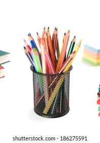 Back to school concept. Pencils. Schoolchild and student studies accessories.