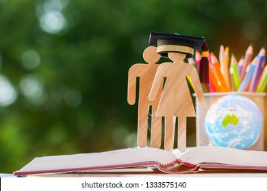 Back to School Concept, People Sign wood with Graduation celebrating cap on open textbook, Australia global map show alternative studying Education knowledge learning study abroad international Ideas.
