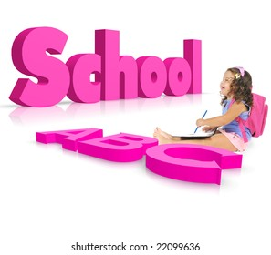 back to school concept with a schoolgirl  learn alphabet