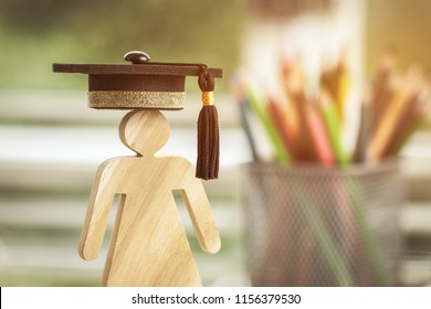 Back to School Concept, Student Sign wood with Graduation celebrating cap blur pencil box, show alternative studying. Graduate or Education knowledge learning study abroad international Ideas.