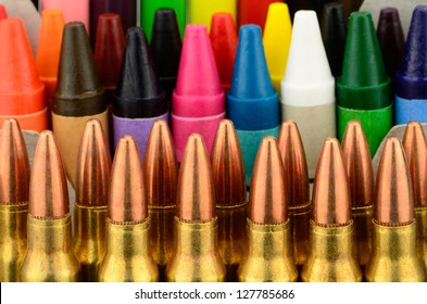Back to school concept studio shot with bullets as necessary supplies