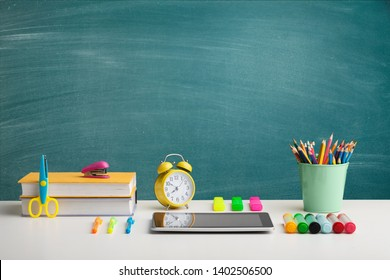 Back to school concepty with clear blackboard