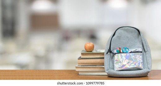 Back To School, Education Concept With Books, Textbooks, Backpack And  Stationery Supplies On