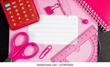 Back to school of education season background or business office desk concept. Flat lay essential objects for learning or working on wooden plank.