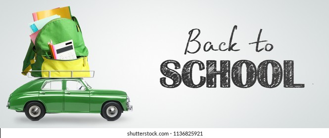 Back to school expenses background. Money flying away from car delivering backpack full of accessories against blackboard