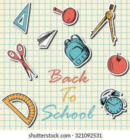 Back to school  in flat design on checkered paper sheet.  Raster illustration.