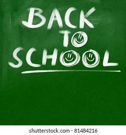 back to school - green chalkboard background (white chalk happy doodles)