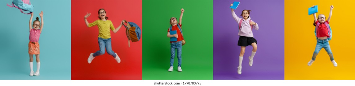 Back to school and happy time! Collage of five children on colorful paper wall background. Kids with backpack. Girls glad ready to study.
