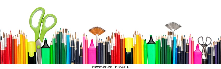Back to school header. Stationery tools supplies on white background