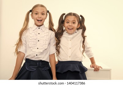 Back to school is here. Little girls happy to be back to school. happy little girls