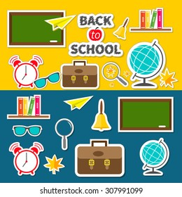 Back to school icon set Green board, bell, alarm clock, world globe, glasses, book shelf, origami paper plane, schoolbag briefcase, maple leaf. Flat design