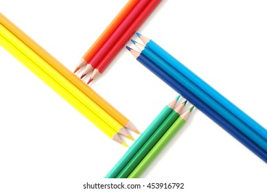 Back to school. Idea with colorful pencils on white background.