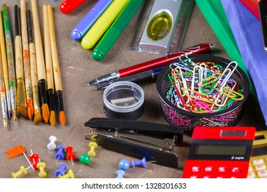 Back to school. Items for school activities rotate on the table.