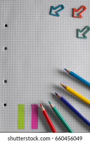 Back to school. Items for the school on notebook with copy space for your text