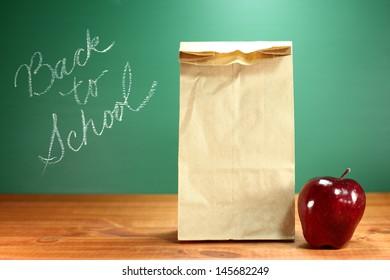Back to School Lunch Sack Sitting on Teacher Desk