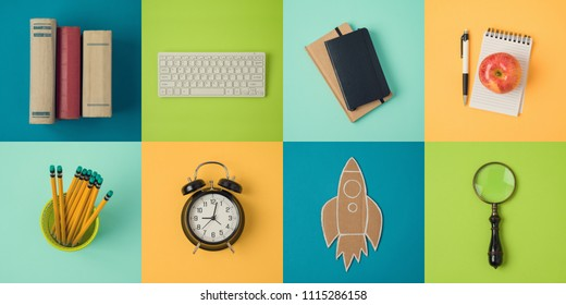 Back to school minimal concept with school supplies. View from above