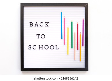 Back to school notice on message board.