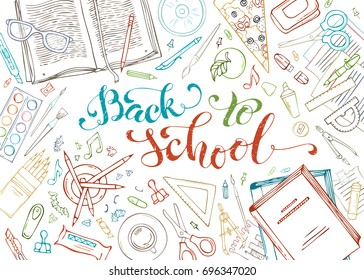 Back to school outlined decorative concept illustration. Set of doodle education elements isolated on white background. School supplies and stationery.