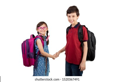 Back to school - Portrait of Arabian brother and sister children handshaking . school girl and boy smiling with school bag