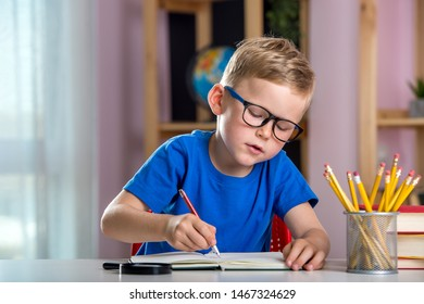 Back to school. Portrait of little child boy writing, drawing in notebook sitting at desk and doing homework. Pupil of primary school in class writing and reading. Home schooling and education at home