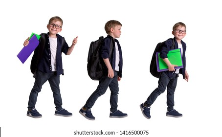 Back to school. Pupil in glasses with backpack and books. Collage of children walk to school in uniform isolated on white background