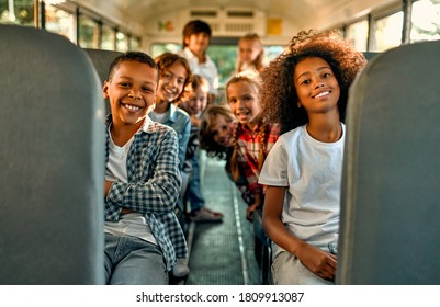 Back to school. Pupils of primary school in school bus. Happy children ready to study.