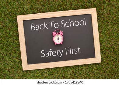 Back To School Safety First Blackboard on Grass